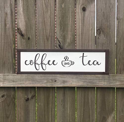 Eyrrme Coffee Bar Schild Kaffee und Tee Schild Küche Dekor Coffee Area Tea Coffee Rustic Sign Custom Holzschild Küche Schild Cafe Schild