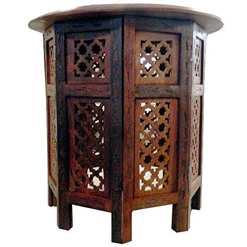 Mesilla auxiliar 2 partes- la inferior octogonal- 46 cm tallada latón mueble...