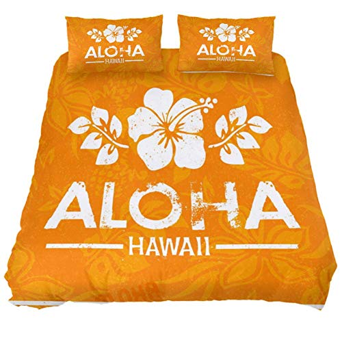 MUMIMI 3-Piece Microfiber Bedding Set (1 Cover 2 Pillowcase) with Zip: Duvet Cover Pillow Shams Bed Quilt Cover,Lightweight and Soft -Queen/King,Retro Aloha Hawaii Print (Hawaii-print Quilts)