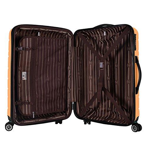 Shaik Serie XANO HKG Design Hartschalen Trolley, Koffer, Reisekoffer, in 3 Größen M/L/XL/Set 50/80/120 Liter, 4 Doppelrollen, TSA Schloss (Großer Koffer XL, Gelb) - 5