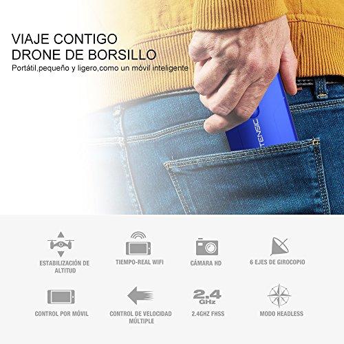 Potensic Drone Plegable y Portátil con Cámara Wifi 720P  Mini Drone Controlado Directamente por la APP de Móvil  es Ideal para los Principantes  Azul