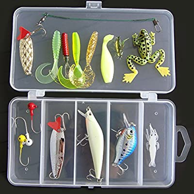 Lixada Fishing Lure Kits 16Pcs/ 105cs/ 106cs Fishing Lure Set Artificial Hard Soft Bait Minnow Spoon Crank Shrimp Jig Hook with Fishing Tackle Box by Lixada