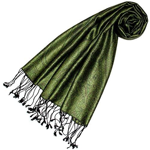 Lorenzo Cana Luxus Seidenschal Schal 100% Seide jacquard gewebt harmonische Farben mit Fransen 35 x 160 cm Paisley Muster Seidentuch (Grün Seide Schal)