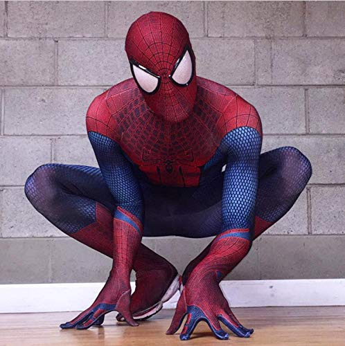 DSFGHE Spiderman Kleidung Cosplay Herren All-Inclusive-Overall 3D Anime Strumpfhose Bühnen Performance Party-Service,Red-M (Spiderman Kostüm Schuhe)