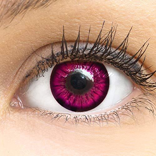 MeralenS Anime Manga Pinke Circle Lenses - Sweet Pink ohne Stärke mit Kontaktlinsenbehälter - 15mm Farbige Big Eyes Contact Lenses