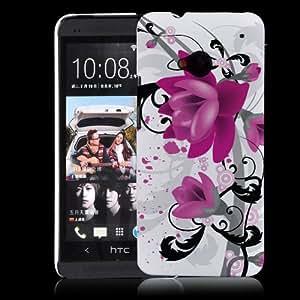 HTC One (New 2013 Model) Purple Flower Hard Plastic Case - White Cover with Purple & Black Flower Design