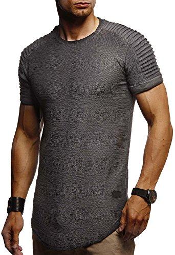 LEIF NELSON Herren Sommer T-Shirt Rundhals-Ausschnitt Slim Fit Baumwolle-Anteil | Moderner Männer T-Shirt Crew Neck Hoodie-Sweatshirt Kurzarm lang | LN6325 Anthrazit X-Large -