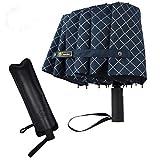 Regenschirm 12 Rippen Taschenschirm Auf-Zu-Automatik Sturmfest Damen Herren Windsicher 105cm Durchmesser leicht stabil Umbrella Reiseschirm Outdoor groß mit Schirmhülle Schirm Tasche Blau kariert