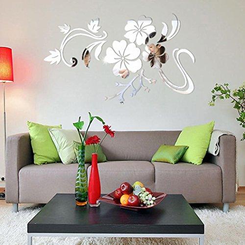 Ningsun adesivo da parete smontabile del vinile motivo floreale 3d decal spazio commerciale domestico arti decorative art diy moda adesivi specchio (argento, 78*60cm)