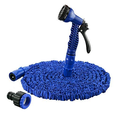 UISEBRT Flexibler Gartenschlauch Ausgedehnt 15m - Ausdrehbar Wasserschlauch mit Brause - für Autowäsche, Haus und Garten zur Gartenbewässerung Rasenbewässerung (15m, Blau)
