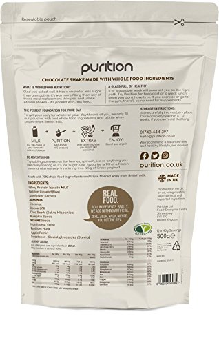 Wholefood Chocolate Protein Shake (500g) Ideal for weight loss & post exercise recovery – 100% natural meal replacement – Breakfast smoothie for men & women – Drink or mix into porridge or yogurt