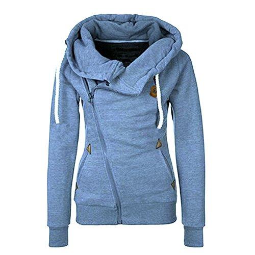ShallGood Damen Frühling Herbst Casual Langarm Zip Hoodies Sweatjacke Kapuzenjacke Kapuzenpullover Sweatshirt Oberteil Pullover Blau DE 34 (Plissee-rüschen-jacke)