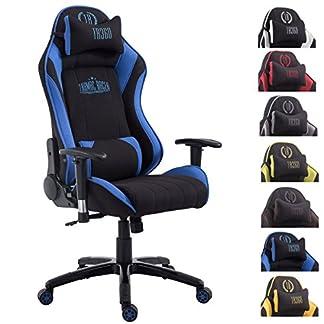 CLP Silla de oficina SHIFT XL. La silla gaming Tarmac Racer tiene tapizado de tela y soporta un peso máximo de 150 kg. Con reposapiés y cojines para cuello y lumbares.