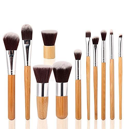Jeu de 11 Pinceaux Cosmétiques Pinceaux de Maquillage en Bois Naturel avec Pochette
