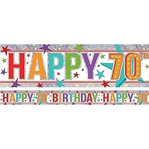 amscan 9900969 - Pancarta de 2,7 m, diseño holográfico con Texto Happy 70th Birthday