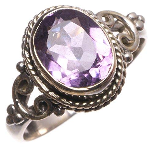 stargems (TM) Natürliche Amethyst Handgefertigt Vintage 925Sterling Silber Ring, UK Größe (Australien In Billig Kostüme)