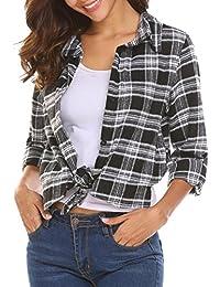Zeagoo Chemisier Femme Manche Longue Blouse Coton Col Chemise T-shirt à Carreaux Automne