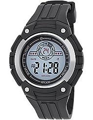 Montre Concept - Montre digital Homme - bracelet Plastique Noir - Cadran Rectangulaire Fond Gris - Marque Mingrui - MR8547-NOIR