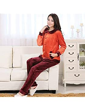 GZZ Inicio Hotel Albornoz Robe Parejas Pijamas Transpirables Franela Manga Larga Pantalones Comodidad Servicio...