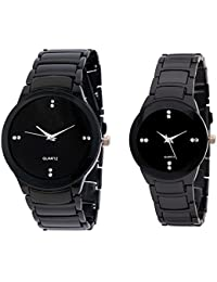 Snapcrowd Collection Watches Analogue Black Dial Men's And Women' Watch -Couple_Black