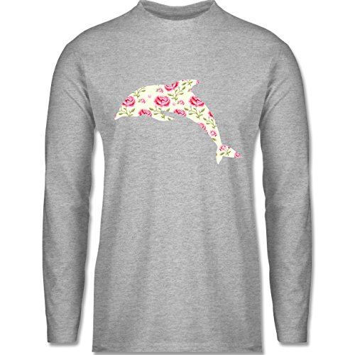 Shirtracer Sonstige Tiere - Delfin Blumen Rose - Herren Langarmshirt Grau Meliert