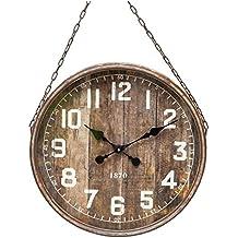 Grande Horloge Géante Murale Pendule Style Industriel Vintage en Fer Patiné Marron Vitre et Chaine 8x48x70cm