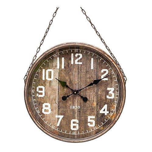 Grande orologio gigante da parete pendolo stile industriale Vintage in ferro anticato marrone vetro e catena 8x 48x 70cm