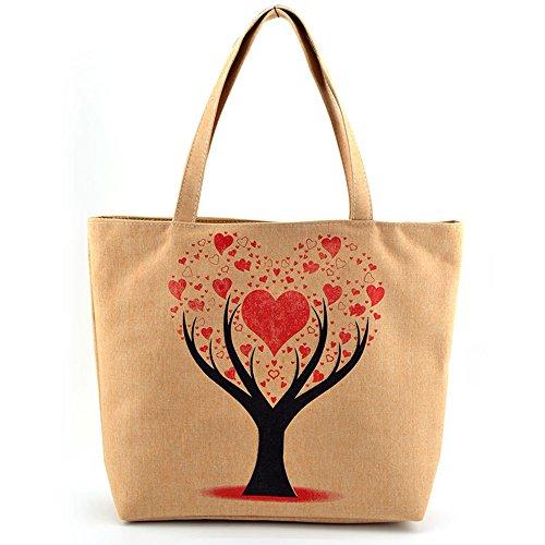 ANNE Moda Borsa Di Spalla Borsa a Tracolla Della Borsa Del Sacchetto Casuale Dell'ambiente Love tree
