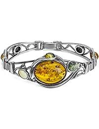 Multicolor Amber Sterling Silver Bracelet 18 cm