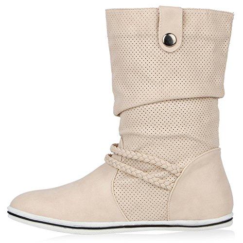 Bequeme Damen Stiefel Flache Schlupfstiefel Boots Beige