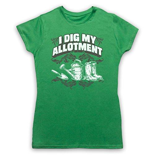 I Dig My Allotment Gardening Slogan Damen T-Shirt Grun