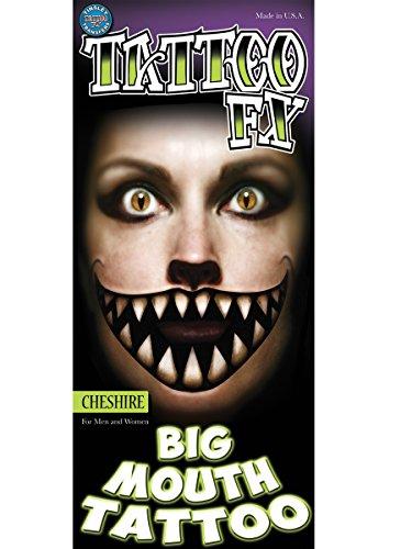 Tinsley Transfers Grinsender Katzen-Mund Mega-Tattoo Halloween schwarz-beige 20,3x7,6cm Einheitsgröße