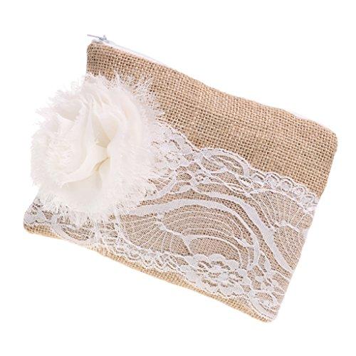 Homyl Hochzeits Clutch Blume Spitze Leinen Brautjungfern Geldbörse Kosmetik Tasche