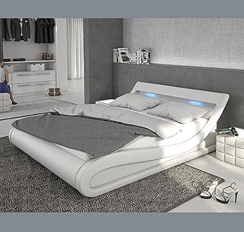 Design Ameublement - Lit design Carol – Blanc avec LED