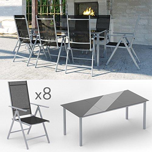 Alu Sitzgarnitur Gartenmöbel Set 9-teilig Garnitur Sitzgruppe 1 Tisch 190×87 + 8 Stühle - 2