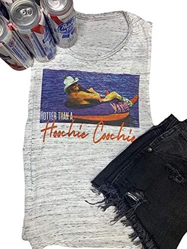 FGUDLiIN Frauen Tank Tops Country Musik heißer als EIN Hoochie Coochie Sommer Graphic Tees (Color : White, Size : S)