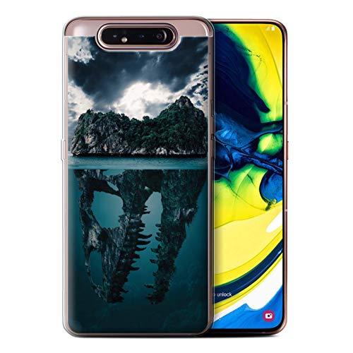 eSwish Gel TPU Hülle/Case für Samsung Galaxy A80/A90 2019 / Tropische Insel/T-Rex Muster/Dinosaurier Jurassic Earth Kollektion T-rex-mobile Handy
