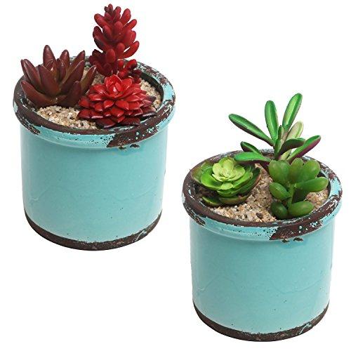 Rustikaler Stil Keramik Sukkulente Pflanzgefäße, kleine runde Blumentöpfe, Blaugrün, 2Stück -