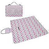coosun weiß grau pink Chevron Picknick Decke Tote Handlich Matte Mehltau resistent und wasserfest Camping Matte für Picknicks, Strände, Wandern, Reisen, Rving und Ausflüge