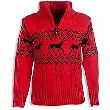 12bd577ac0 24brands Kinder Jungen Pullover Rentier Pulli Strickpullover Troyer Norweger  Sweater Stehkragen mit Reissverschluss 3104