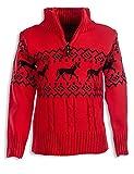 24brands Kinder Jungen Pullover Rentier Pulli Strickpullover Troyer Norweger Sweater Stehkragen mit Reissverschluss 3104, Größe:116-122;Farbe:Rot