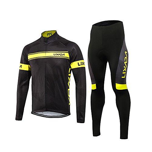 Lixada completo ciclismo abbigliamento set uomo inverno termico vello maniche lunghe antivento ciclismo maglia lunga e pantaloni (nero giallo, l(eu),(175-180cm,70-85kg))