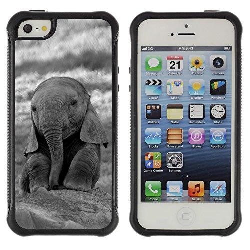 Graphic4You Niedlich Baby Elefant Tier Design Shockproof Anti-Rutsch Weichen Hülle Case Tasche Schutzhülle für Apple iPhone SE / 5 / 5S Design #3