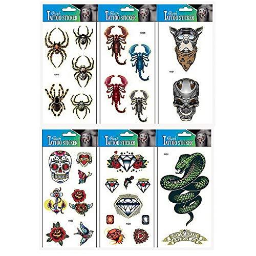 (INTEROOKIE Spinne Fake Tattoos 6 Stück Tier Tattoo Sticker in 1 Paket, darunter Rose, Diamant und Schlange Fake Tattoos, Spinnen, Schädel, Speer, Herz, Schmetterling.)