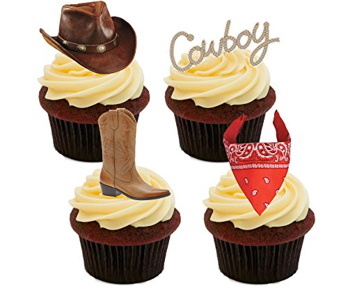 Cowboy/Western Essbare Kuchen Dekorationen – Stand-Up Wafer Cupcake Topper, 12er-Pack