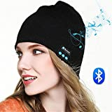 Hmilydyk Bluetooth Bonnet en tricot Chapeau Hi-Tech Smart Wireless Headset Cap musicale avec amovible haut-parleurs stéréo et micro pour sports de plein air, Meilleur Winter Cadeau pour homme femme garçons filles, noir