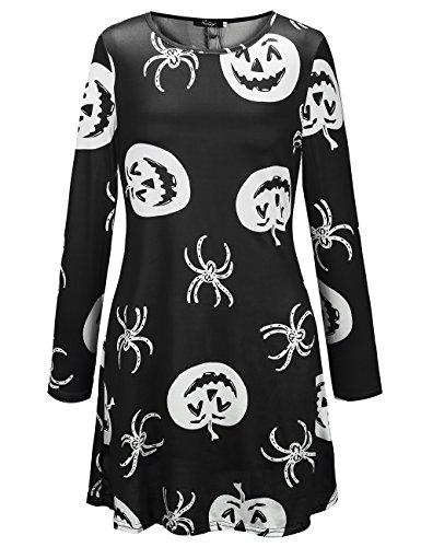 SIMYJOY Damen Halloween Langarm Kittel Flared Skater Kleid Swing Kleid für Party Cocktail Kostüm und Parade schwarze spinne (Halloween Kostüm Muster Spinne)