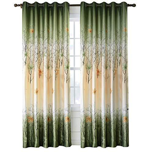 Grün/Gelb Blatt Baum Vorhänge 2Panel Ahorn Vorhänge für Wohnzimmer Tülle/Öse 213,4cm Drop, Textil, grün, 2Panels(50Wx84