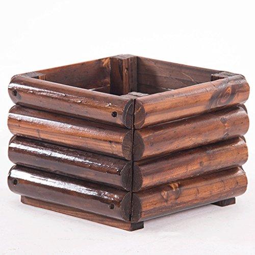 JARDIN & HOME boîtes à fleurs protection contre la corrosion bois carbonisé fleur pot arbre bassin carré plantes en plein air Bonsaï plantation boîte en bois massif fleur creux 30 * 20cm 6 k 13lbs