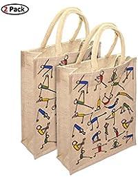 2Pcs Eco Friendly Yoga Print Jute Bag Lunch Bag For Office (16x5x14 Inch)